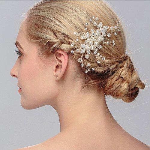 Clearine Damen Künstliche Perlen Kristall Blume Handarbeit DIY Braut Hochzeit Haarkamm Haarschmuck Ivory-farbe - 2