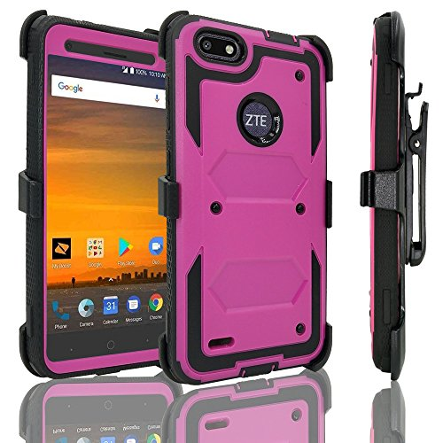 ZTE Blade Force Case with [Tempered Glass Screen Protector], Customerfirst [Heavy Duty] Dual Layer [Belt Clip] Holster [Kickstand] Combo Rugged Case For ZTE Blade Force N9517 (Purple)