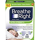 Breathe Right Extra Strength Clear Nasal Strips, Sensitive Skin, Nasal Congestion Relief due to Colds & Allergies, Reduces Nasal Snoring caused by Nasal Congestion, Drug-Free, 44 count