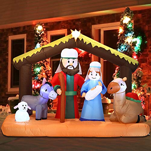 Joiedomi Christmas Inflatable Decoration 6.5 ft Scene Inflatable with Build-in LEDs Blow Up for Christmas, Party Indoor, Outdoor, Yard, Garden, Lawn Décor.
