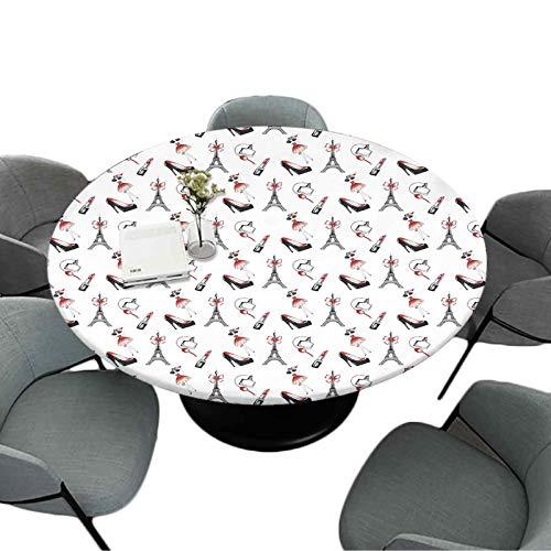 Mantel redondo con bordes elásticos, 177,8 cm, para cocina y comedor, diseño de estilo dibujado a mano, para mujer, con elementos de moda, zapatos, pintalabios, perfume, color...