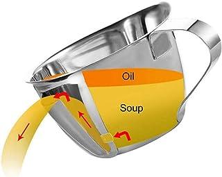 Separador de grasa de aceite de acero inoxidable con manija, separador de grasa de cocina casera resistente al calor, taza de colador de sopa de aceite multipropósito, para salsa, sopas y salsas