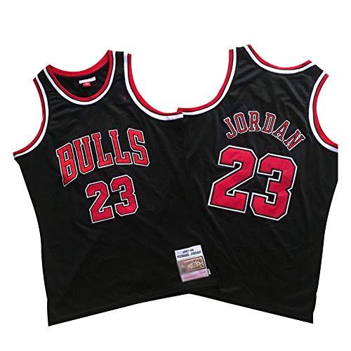 Michael Jordan Chicago Bulls Basketball Trikot Herren # 23 Classic Bestickt Retro Jersey Jugend Fan Edition Weste Outdoor Schnell Trocknend Atmungsaktiv Sweatshirt (S-2XL)-Schwarz A-L