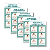 NMC PST183PP How to Wear A Mask Properly, 18 X 12 Poster, Poster Paper, Pack of 5