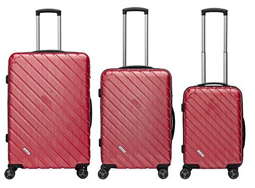 Packenger Kofferset - Vertical - 3-teilig (M, L & XL), Rot-Metallic, 4 Rollen, Koffer mit TSA- Schloss und Erweiterungsfach, Hartschalenkoffer (Polycarbonat), glänzend
