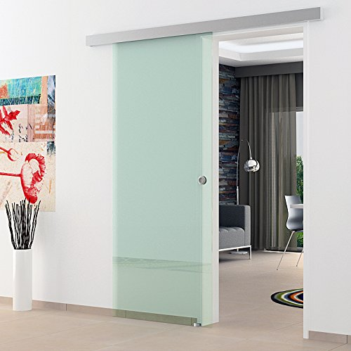 Glasschiebetür 1025x2050 mm Klarglas Levidor Basic-System komplett Alu-Laufschiene und Edelstahl-Muschelgriffen Schiebetür aus Sicherheitsglas für Wohnzimmer Esszimmer