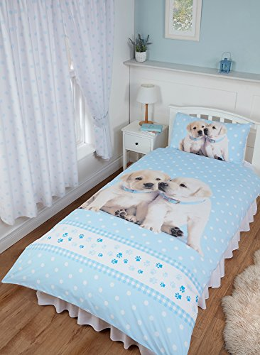 Single Bed Luke & Leia, Rachael Hale Duvet/Quilt Cover Bedding Set Fully Reversible, Labrador Puppies Polka Dot Gingham Paw Stripes Border, Blue White