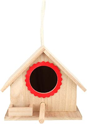 Jeffergarden 7.2 6.2 5.9 inch Brown Interesting Durable Sturdy Outdoor Hanging Wooden House Bird Feeder Feeding Box Rest Station with Suction Cup(Red)