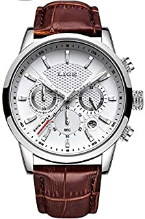 LIGE Watch for Men - Analog Leather Band - 9866