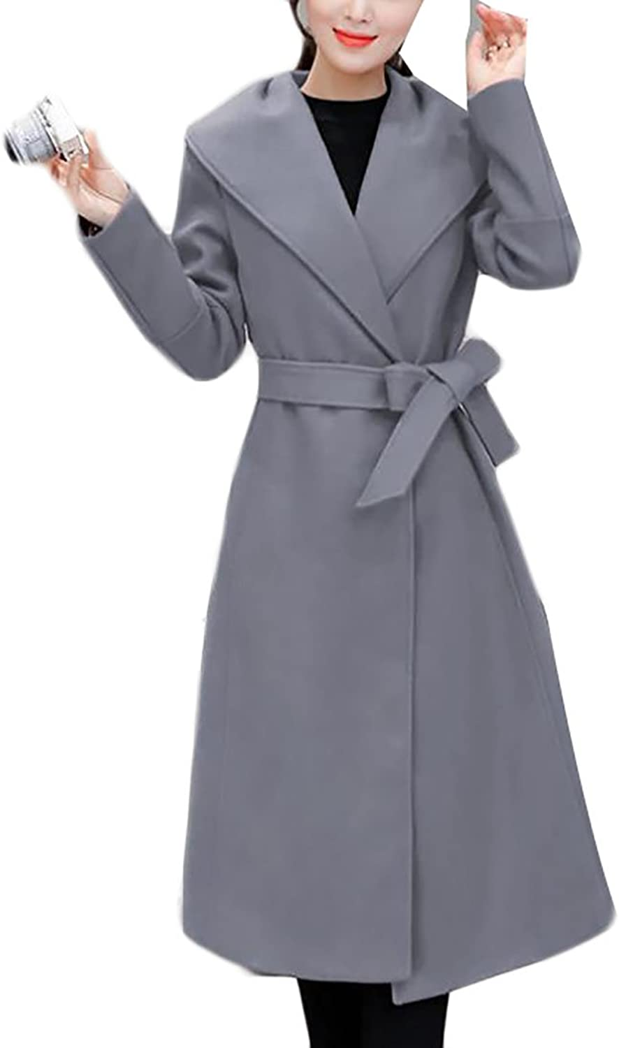 YUNY Womens Elegant Solid Belt Wool Blend Solid MidLong Overcoat