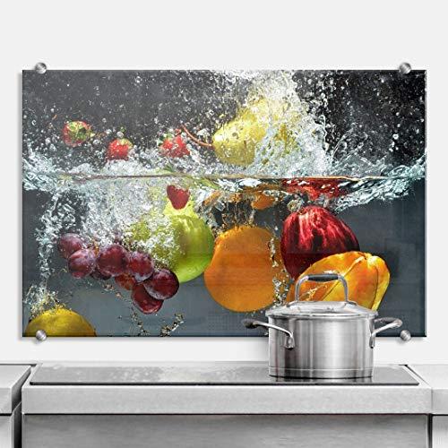 K&L Wall Art Herd Spritzschutz Küche Glasbild Küchenrückwand Glas Motiv Obst 60x40 cm mit Klemmbefestigung Edelstahl