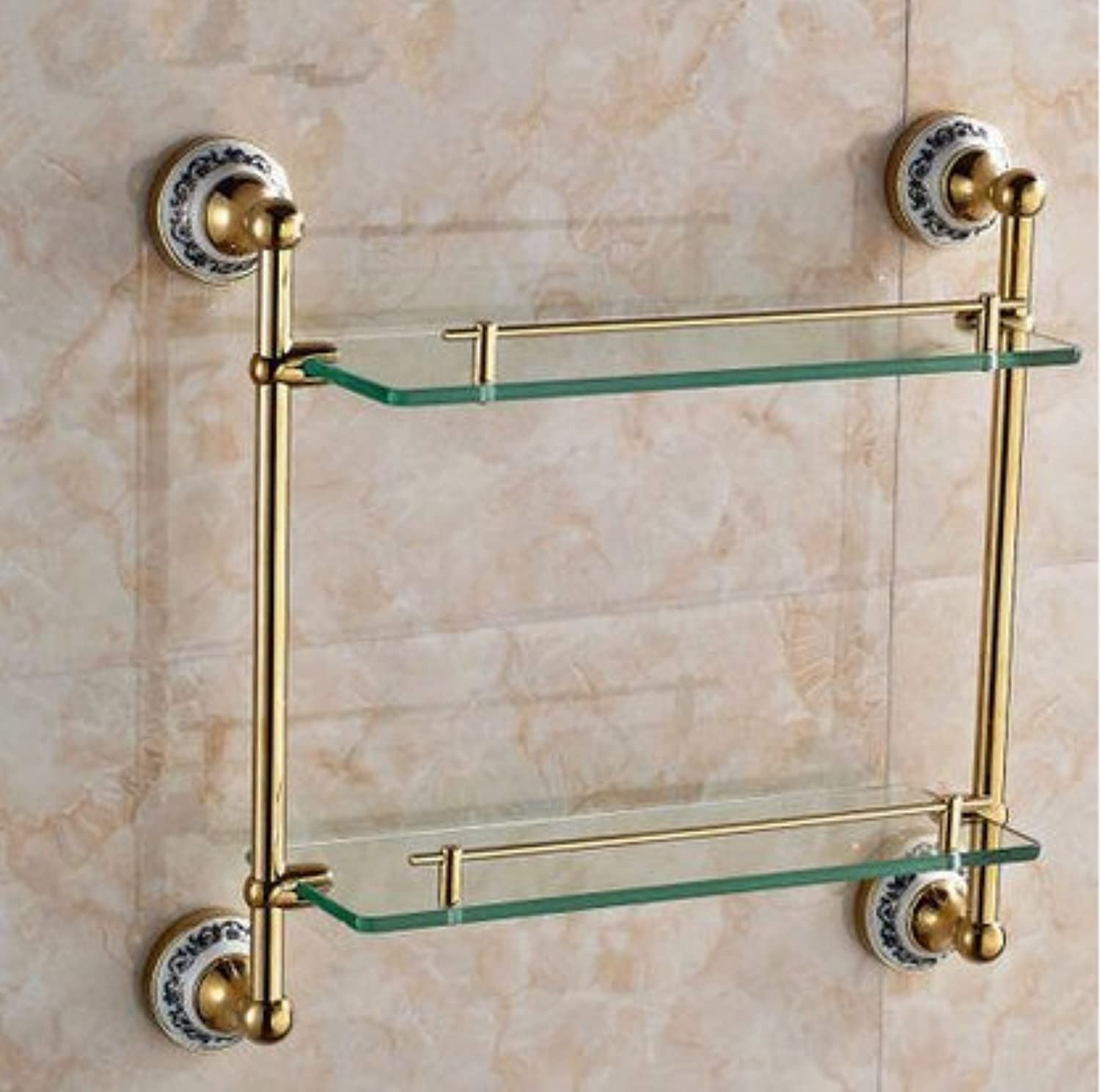 European blonde bathroom double glass shelf,B-@wei