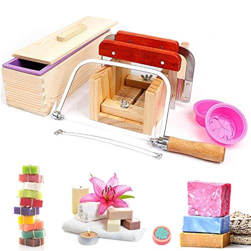 UHAPEER Juego de Herramientas para Cortar Jabón, Handmade Soap DIY Tools, Rectangular Caja y Tapa de Madera con Molde de silicona para pan de jabón, Cortador de jabón recto