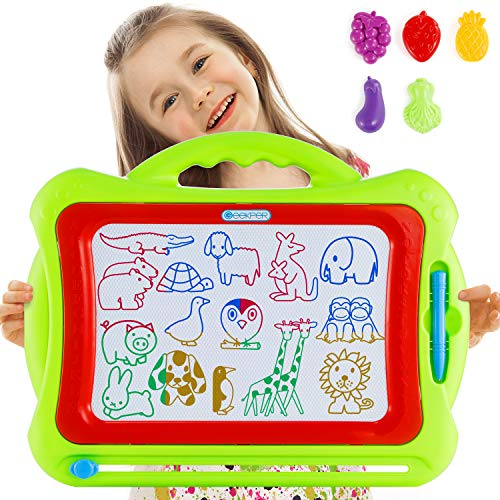 Magnetic Drawing Board for Kids, 16 Inch Large Doodle Board with 5 Stamps, Geekper Educational Writing Painting Pad Creative Toys Gifts for 3, 4, 5, 6 Years Old Toddlers Girls Boys