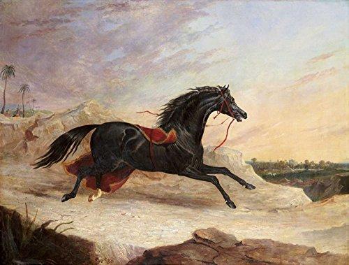 AFDRUKKEN-op-GEROLDE-CANVAS-Arabieren-Chasing-een-Loose-Arabische-Paard-In-Een-Oost-Landschap-Herring-JohnFrederick-Dieren-Afbeelding-gedruckt-op-canvas-10-Afmeting-49_X_65_cm