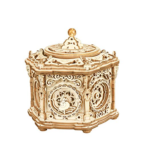 RoWood 3D Wooden Puzzle, Music Box Mechanical Model Kits for Adults, DIY Craft Kits - Secret Garden