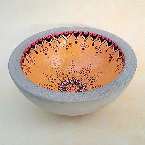 Runde Mandala Betonschale, Goldgelb, schwarz, Perlmutt als Deko oder Geschenk