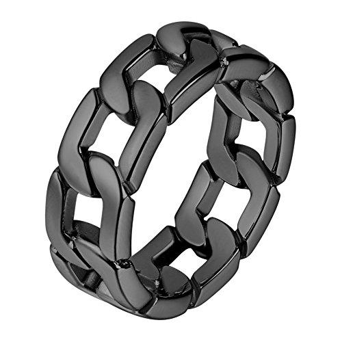 U7 Herren Ringe Panzerkette Design Schwarzes Metall plattiert Ring Massiv Biker Hochglanzpoliert Bandring Hip Hop Ringe für Männer(59)