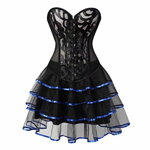 Josamogre Sexy Corset Mujer Gótico Encaje Vestido de corsé Hueco Perspectiva Bustiers Falda Tutu Burlesque Disfraces Azul 6XL