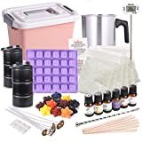 Océu Soy Candle Making Kit for Adults - DIY Candle Kit Storage Box with Tools and Supplies, for Beginners and Kids Make Scented Candles and Soy Wax Melts (with Mould, 12 Colors, 6 Spice and More)