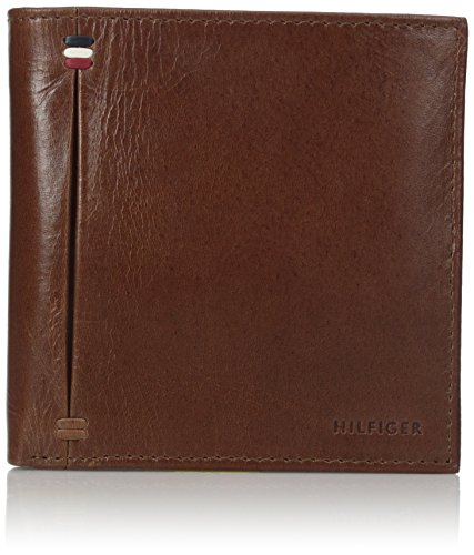 Tommy Hilfiger Men's Leather Passcase Wallet, Saddle, One Size