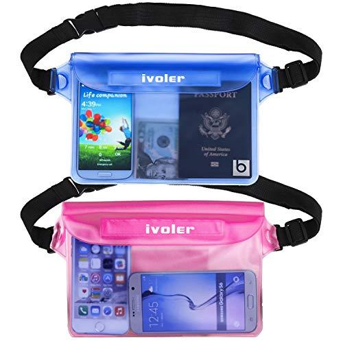 ivoler [2 Unidades] Riñonera Impermeable Universal con Correa de Cintura, Bolsa Estanca para Playa, Floating, Rafting, Kayak, Senderismo, Pesca, Escalada, Camping, etc. (Azul+Rosa)