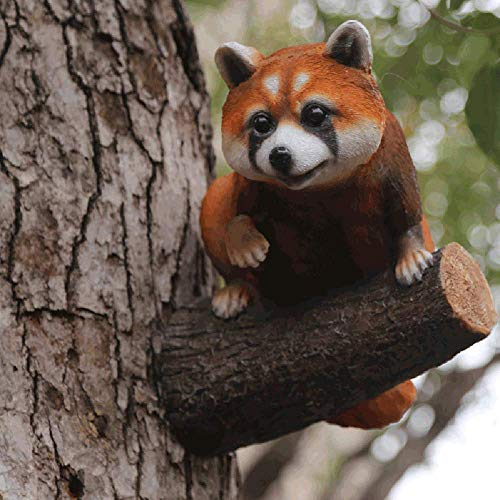 Resin Racoon Statue Wall Mounted DIY Outdoor Garden Tree Fairy Ornament Outdoor Fence Shed Decoration Animal,Brown