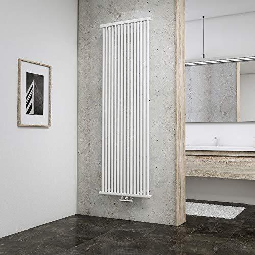 Schulte Radiateur à Eau Chaude Kiel, 60 x 180 cm, 1200 W, Acier, Blanc, Tubes Ronds, raccord Central, inertie Fluide, Vertical