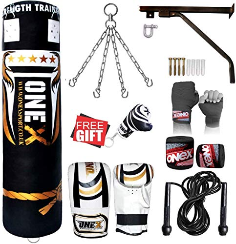 ONEX Heavy Filled 11 Piece 4ft Boxing Punch Bag Set Gloves Bracket Chains MMA Pad Punching Kick Bag (Black, 4ft)