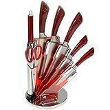 Ceppo di coltelli Royality Line con forbice, affilatoio e base girevole, 8 pezzi rosso
