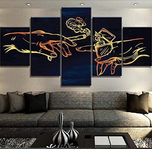 SZQY Cuadro En Lienzo 5 Partes HD Impreso Mural para La Moderno Decoración del Hogar Cigarrillo Y Encendedor(Enmarcado)