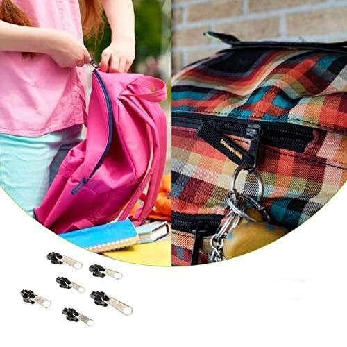 Kit De Réparation De Fermeture À Glissière 6pcs 3# 5# 5# Et 7# Former À Fermeture À Glissière Instantanée Universelle avec Glissière en Métal pour Bjeans, Pantalons, Manteaux, Etc. (Noir)