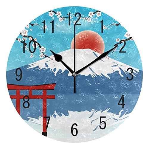 Use7 Wanduhr, Japanischer Berg Fuji Kirschblüte, rund, Acryl, Nicht tickend, geräuschlose Uhr, Kunst für Wohnzimmer, Küche, Schlafzimmer