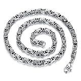 JewelryWe Schmuck Herren Kette, Edelstahl Biker Königskette Halskette, Silber, Breite 5mm Länge...