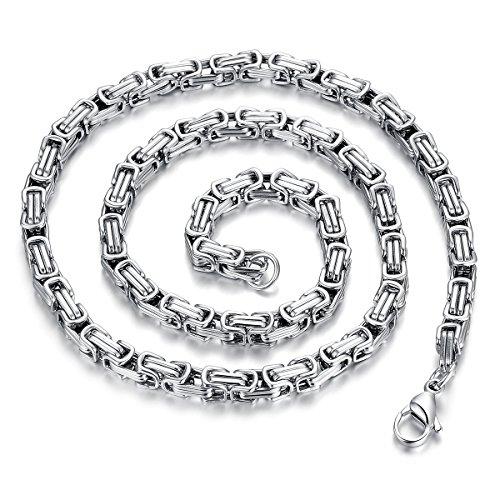 JewelryWe Schmuck Herren Kette, Edelstahl Biker Königskette Halskette, Silber, Breite 5mm Länge 55cm