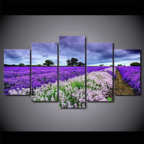 5 Canvas paintings For Living Room Modern HD Printed Pictures Poster Lavender Flower Garden Home Decor Canvas Painting Frameless