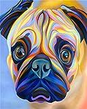 Pintar por Numeros DIY Cuadro al óleo con números Bulldog francés acuarela colorida para Kit de Pintura al óleo Digital para Adultos y niños de Lienzo decoración para el hogar 40x50cm Sin Marco