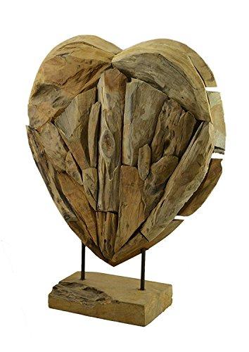 Möbelbörse Teakholz Herz Skulptur Statue Holzskulptur Deko Teak Figur Wurzelholz Objekt 60cm XL