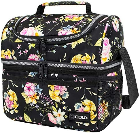 Insulated Dual Compartment Lunch Bag for Women Ladies Double Deck Reusable Lunch Box Cooler product image