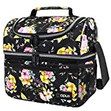 Insulated Dual Compartment Lunch Bag for Women, Ladies   Double Deck Reusable Lunch Box Cooler with Shoulder Strap, Leakproof Liner   Medium Lunch Pail for School, Work, Office (Floral Black)