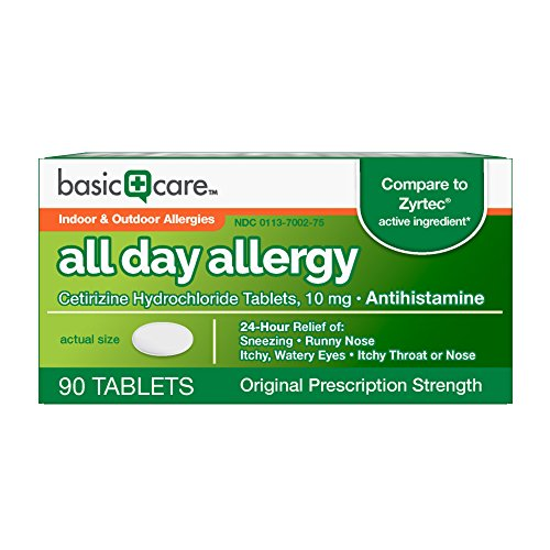 Basic Care All Day Allergy, Cetirizine Hydrochloride Tablets, 10 mg, Antihistamine, 90 Count