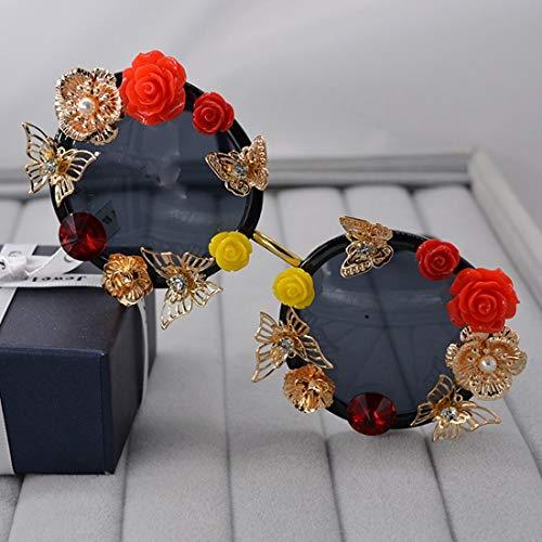 Gafas de sol, rojo y amarillo de la mariposa Rose hechos a mano de metal gafas de sol de la flor de la personalidad retra de las mujeres del metal del oro color de las gafas de sol de conducción UV Mo