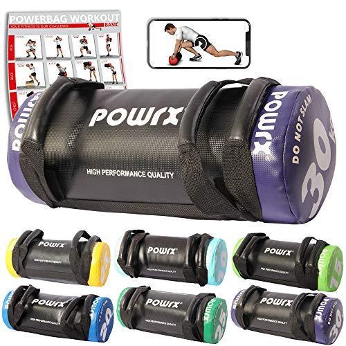 POWRX Sandbag de 5 a 30 kg Mejorar Equilibrio, Fuerza y coordinación - Power Bag con Cuatro agarres + PDF Workout (30 kg/Violeta)