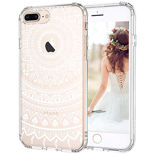 MOSNOVO iPhone 8 Plus Case, Clear iPhone 8 Plus Case, White Henna Mandala Floral Lace Printed Clear Design Plastic Back with TPU Bumper Protective Cover for iPhone 8 Plus (2017)