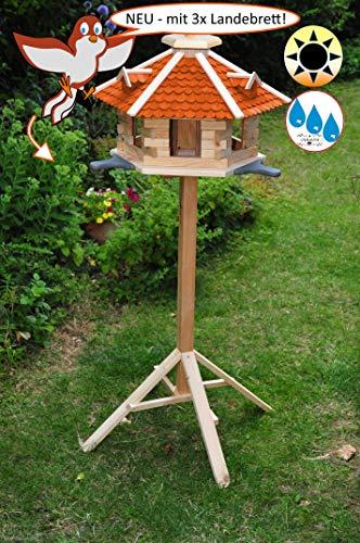 ÖLBAUM Vogelhaus Premium 50 cm, mit 3 Landebahnen (Anflugbrettchen hellgrau) - 3 x Anflugbrett NEU, Massivholz,wetterfest, mit Ständer/mit Standfuß und Silo
