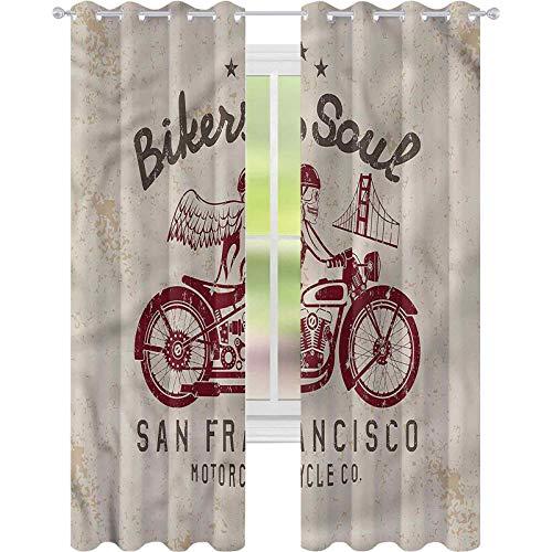 Cortina de ventana con diseño retro de Bikers Soul San Francisco W42 x L84 para oscurecer la habitación, para sala de estar