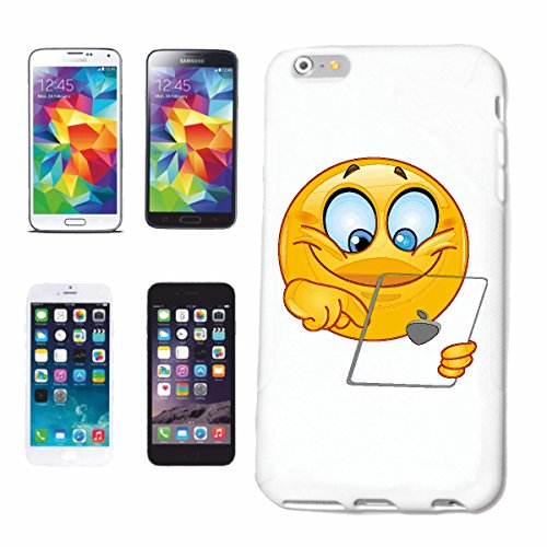 Reifen-Markt Telefoonhoesje iPhone 5C SMILEY OP TABLET SMILEYS SMILIES ANDROID IPHONE EMOTICONS IOS sa glimlach EMOTICON APP Hard beschermend hoesje Cover Smart Cover voor mobiele telefoon Apple iPhone in wit