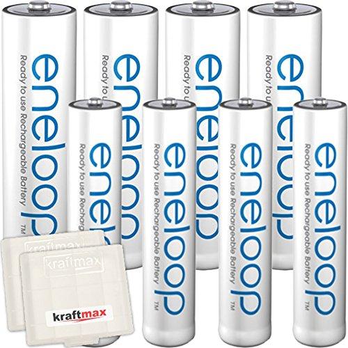 Kraftmax 8er-Kombipack Panasonic Eneloop Akkus - 4 Mignon AA, 4 Micro AAA Akku Batterien in Kraftmax Akkuboxen