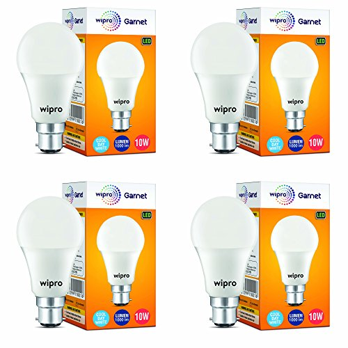 Wipro Garnet Base B22 10-Watt LED Bulb (Pack of 4, Cool Day...