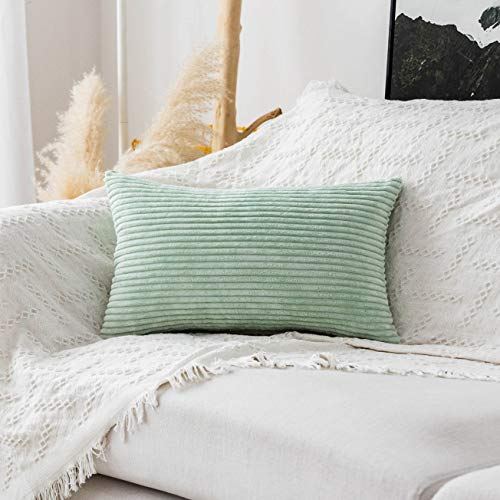 Home Brilliant Decor Decorative Pillow Covers Striped Corduroy Solid Oblong Pillowcases for Sofa Kids Toddler, 12 x 20, Mint